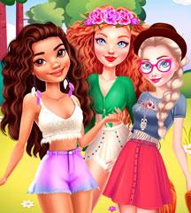 jogos de vestir - Princesses Summer Glamping Trip